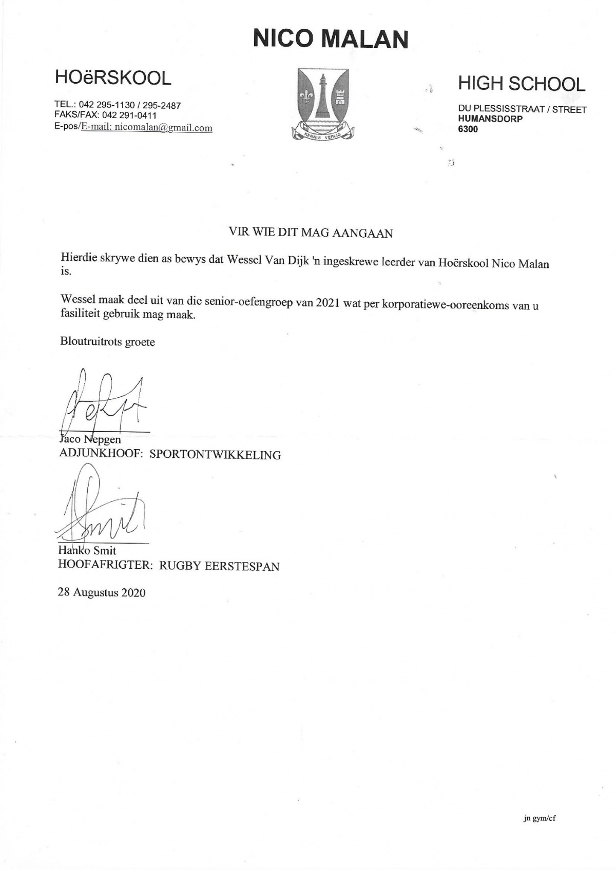 A letter stating that Wessel forms part of a senior training group for 2021