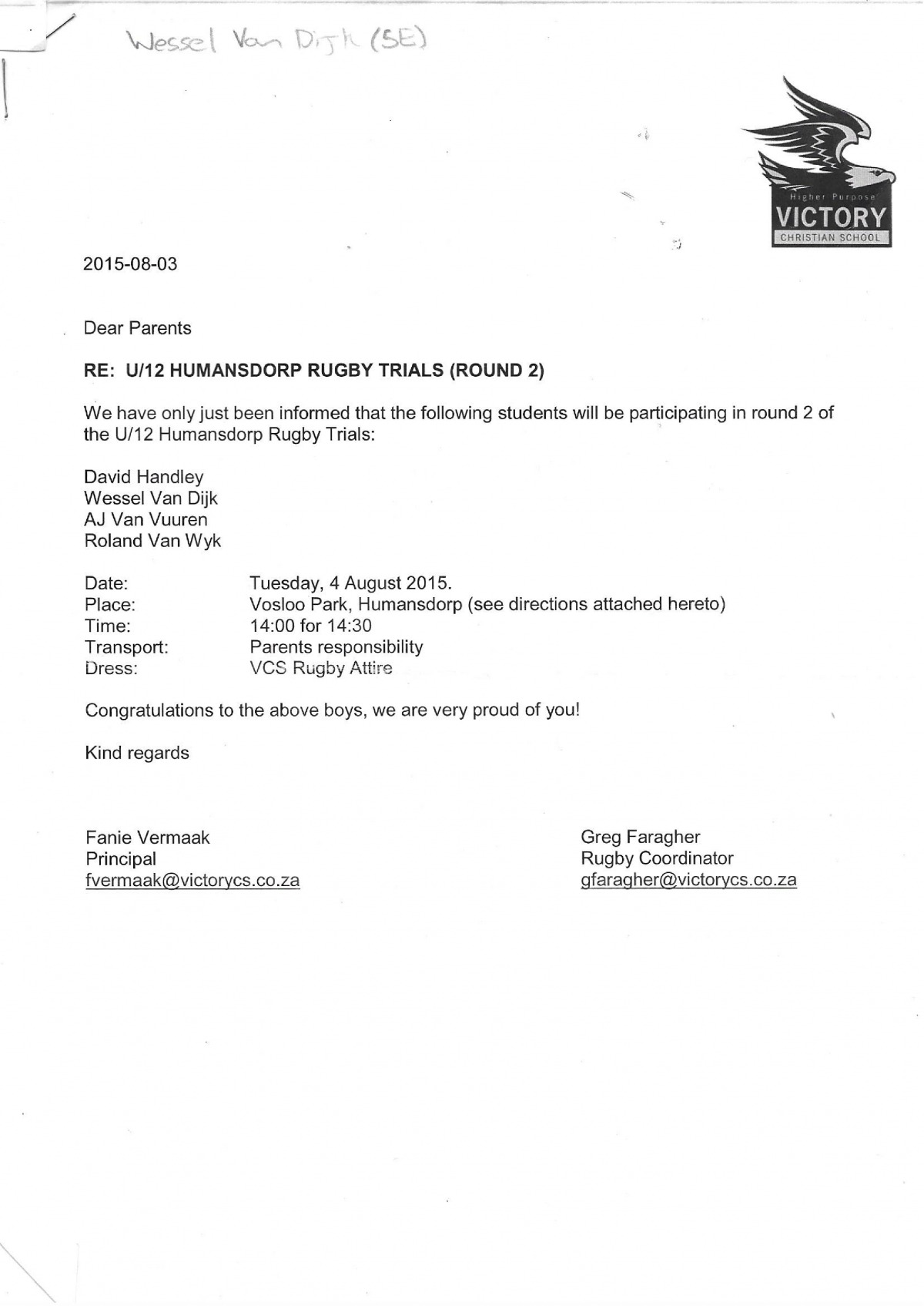 A letter stating that Wessel forms part of the second round of the u12 Humansdorp Rugby Trials
