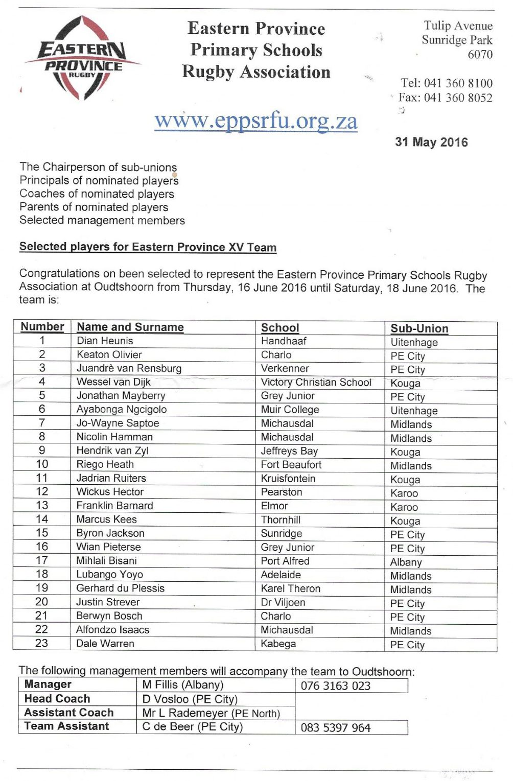 Eastern Province Primary Schools Rugby Association selection roster showing Wessel selected for the number four position for the EP u13 team