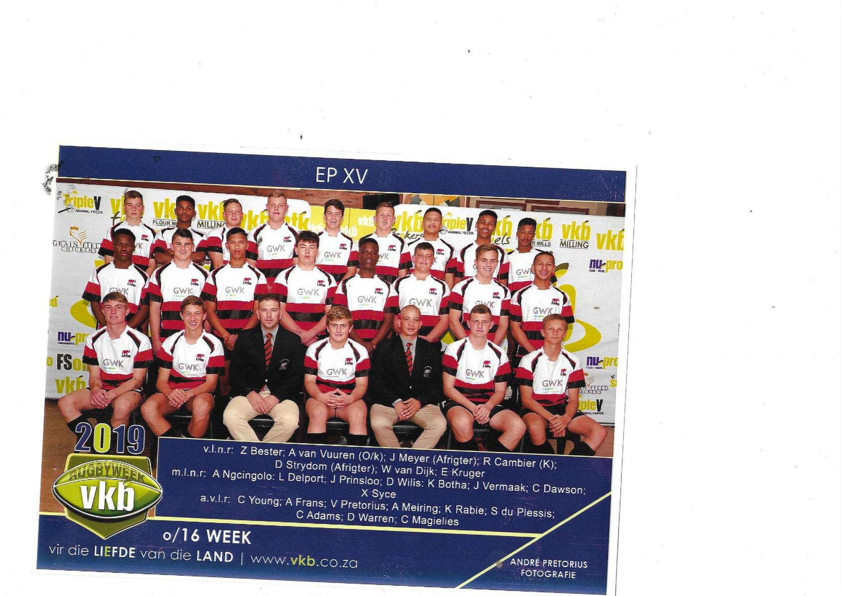 Picture of the EP XV u16 team featuring Wessel