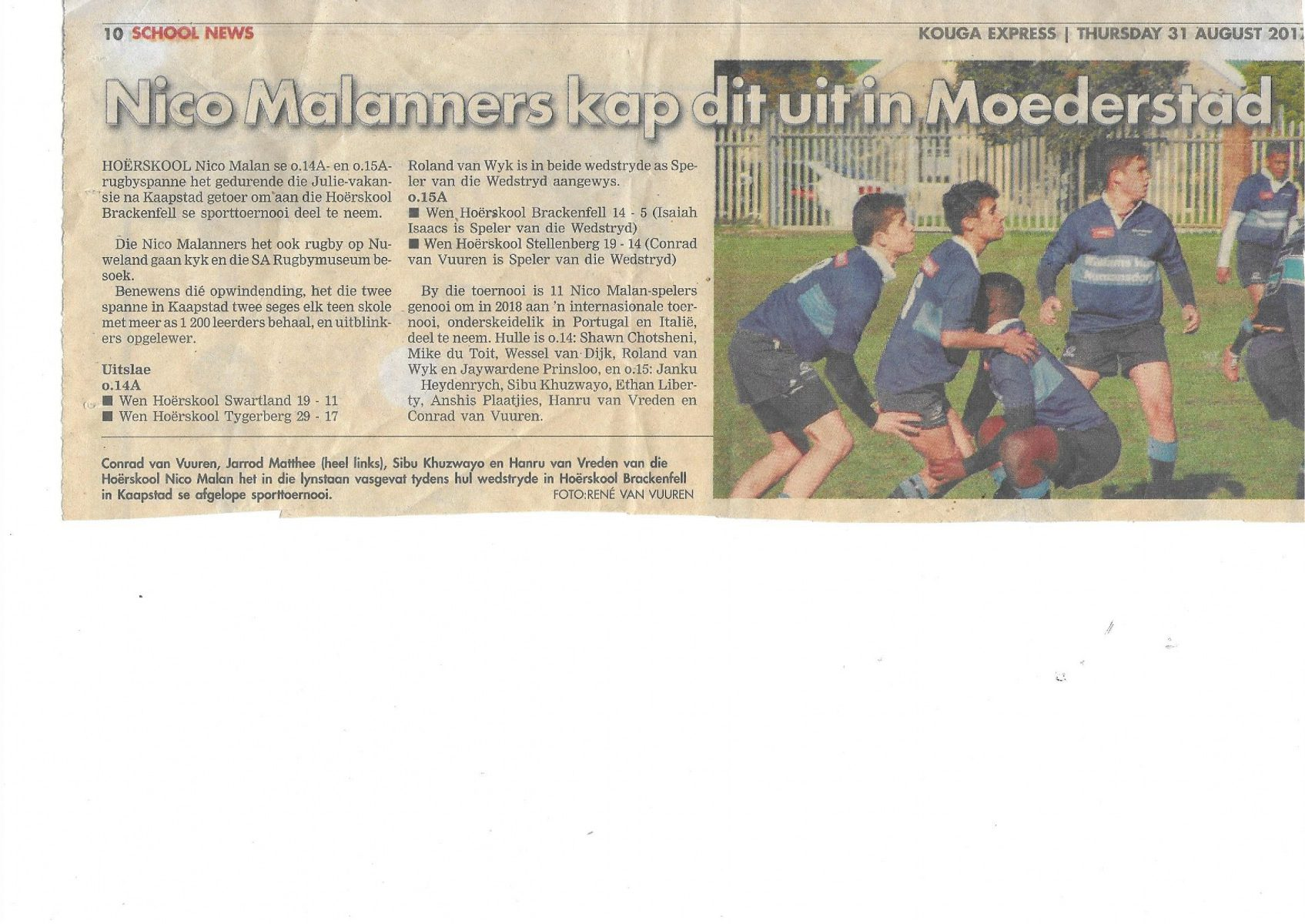 Wessel is mentioned as one of the invitees to an international rugby tournament in Portugal and Italy in this newspaper clipping.