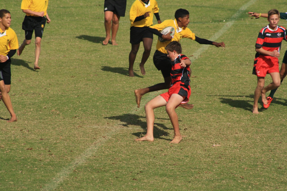 A young Wessel making a tackle