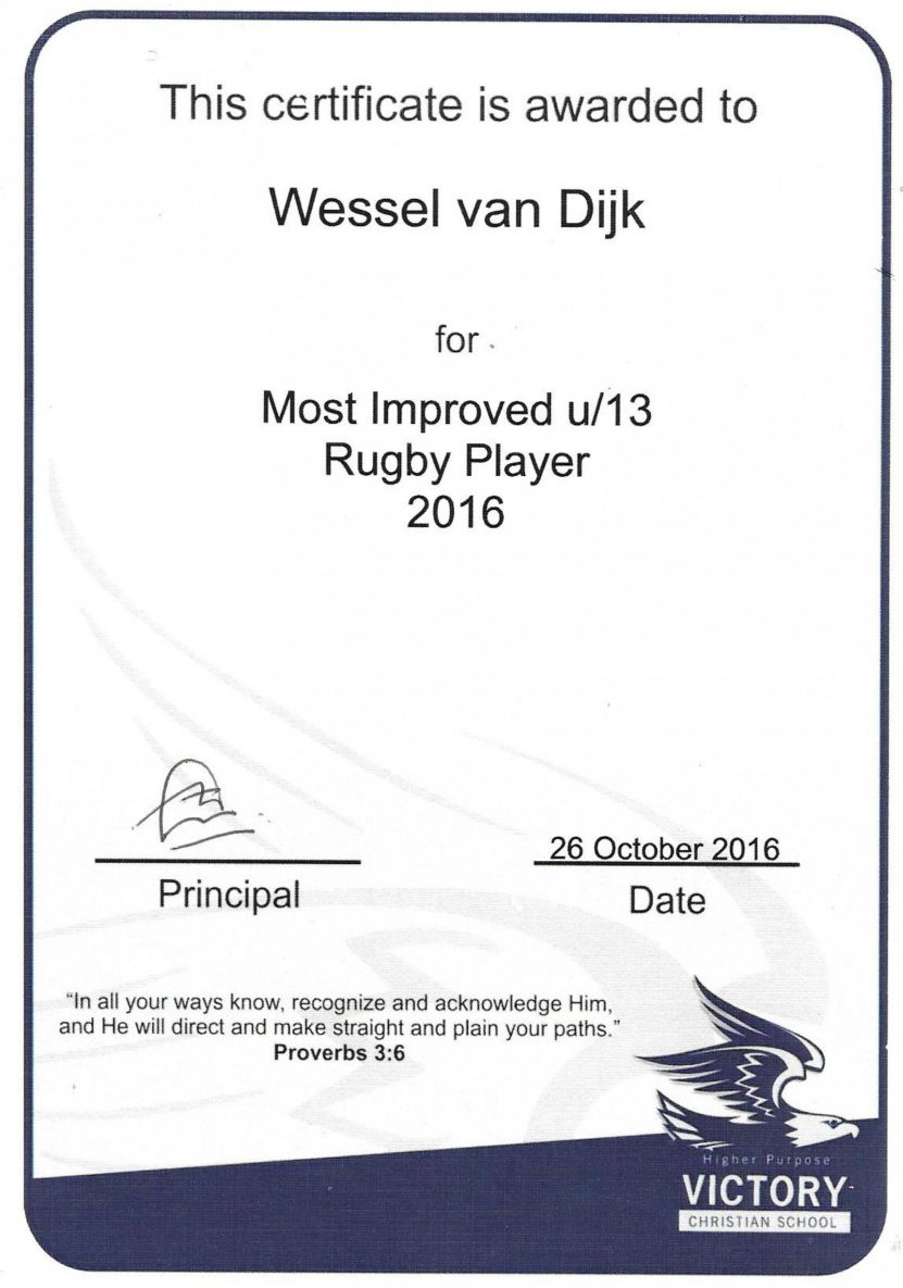 Wessel received this certificate for being the most improved u13 rugby player